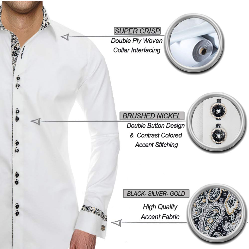 White and Black French Cuff Dress Shirts