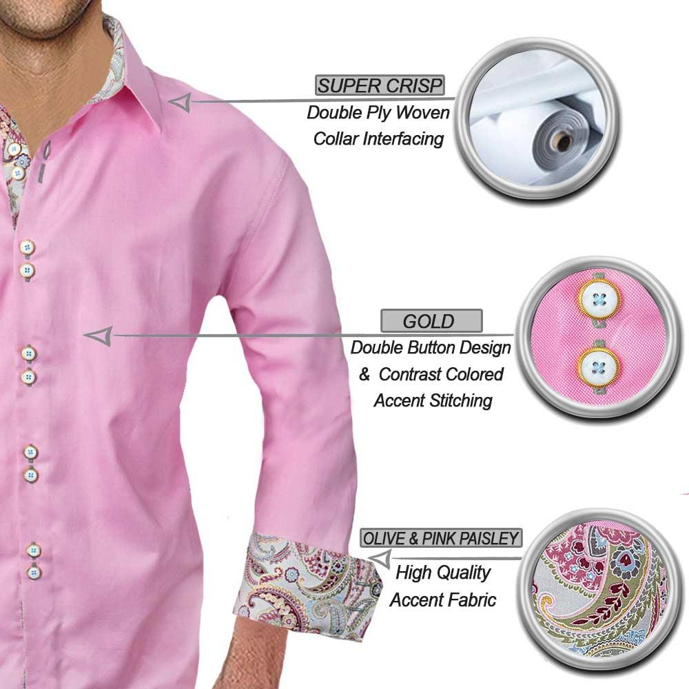 Pink Paisley Dress Shirts